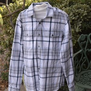 Express long sleeve fitted plaid shirt L